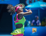 Serena Williams (USA) defeats Elina Svitolina (UKR) 4-6, 6-2, 6-0 at the Australian Open being played at Melbourne Park in Melbourne, Australia on January 24, 2015