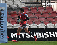12th February 2021; Kingsholm Stadium, Gloucester, Gloucestershire, England; English Premiership Rugby, Gloucester versus Bristol Bears; Santiago Carreras of Gloucester crosses the line and scores a try