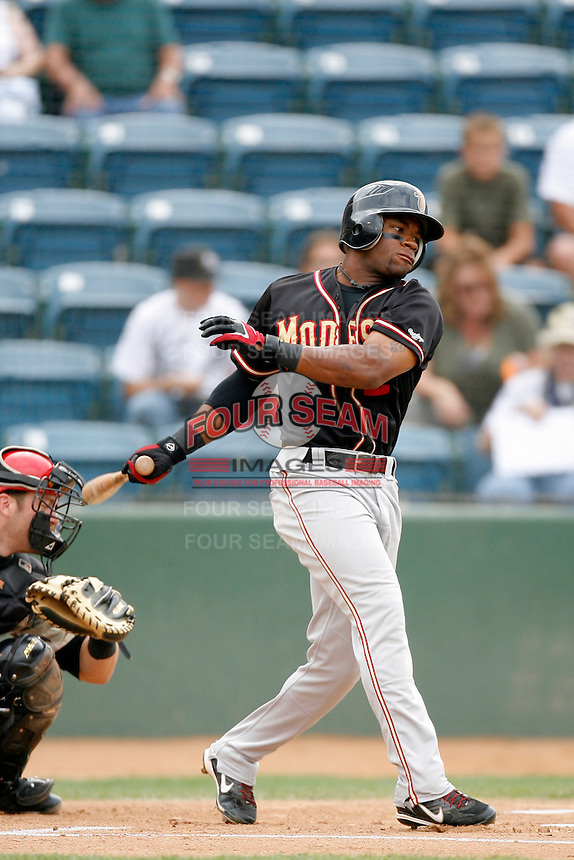 Eric Young of the Modesto Nuts during a California League baseball game on July 22, 2007 at The Epicenter in Rancho Cucamonga, California. (Larry Goren/Four Seam Images)