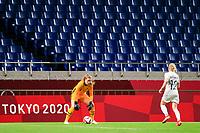SAITAMA, JAPAN - JULY 24: Alyssa Naeher #1 of the United States retrieves the ball during a game between New Zealand and USWNT at Saitama Stadium on July 24, 2021 in Saitama, Japan.