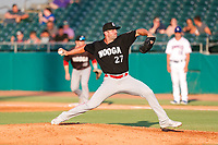 Chattanooga Lookouts pitcher Matt Pidich (27) delivers a pitch to the plate against the Tennessee Smokies at Smokies Stadium on June 18, 2021, in Kodak, Tennessee. (Danny Parker/Four Seam Images)