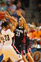 6 April 2008: Stanford Cardinal Rosalyn Gold-Onwude during Stanford's 82-73 win against the Connecticut Huskies in the 2008 NCAA Division I Women's Basketball Final Four semifinal game at the St. Pete Times Forum Arena in Tampa Bay, FL.