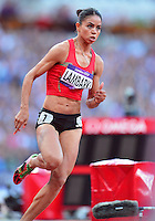 August 05, 2012..Hayat Lambarki competes in round one of Women's 400m hurdles at the Olympic Stadium on day nine of 2012 Olympic Games in London, United Kingdom.