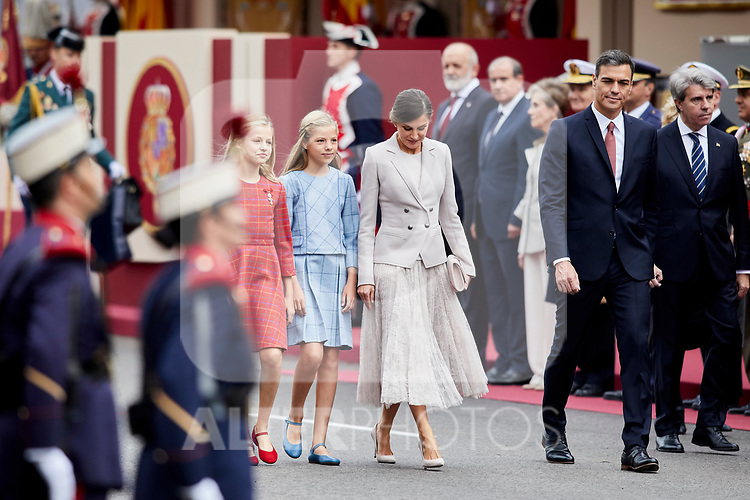 Queen Letizia of Spain, Princess Leonor of Spain, Princess Sofia of Spain and President Pedro Sanchez attends to Spanish National Day military parade in Madrid, Spain. October 12, 2018. (ALTERPHOTOS/A. Perez Meca)