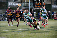 Shane Buckley of Ealing Trailfinders scores a try during the Greene King IPA Championship match between Ealing Trailfinders and Ampthill RUFC being played behind closed doors due to the COVID-19 pandemic restrictions at Castle Bar , West Ealing , England  on 13 March 2021. Photo by Alan Stanford / PRiME Media Images