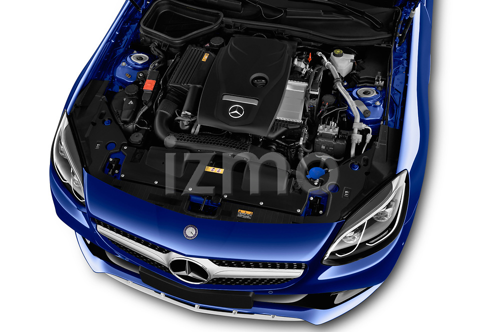 Car stock 2018 Mercedes Benz SLC AMG Line 2 Door Convertible engine high angle detail view