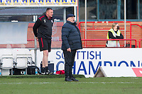 13th March 2021; Dens Park, Dundee, Scotland; Scottish Championship Football, Dundee FC versus Arbroath; Arbroath manager Dick Campbell shouts instructions