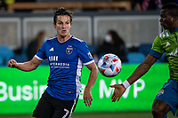 SAN JOSE, CA - MAY 12: Carlos Fierro #7 of the San Jose Earthquakes chases the ball during a game between San Jose Earthquakes and Seattle Sounders FC at PayPal Park on May 12, 2021 in San Jose, California.