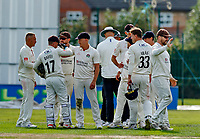 21st September 2021; Aigburth, Merseyside, England; County Championship Cricket, Lancashire versus Hampshire, Day 1; Matt Parkinson of Lancashire (far left) with his team mates after taking the eighth Hampshire wicket to fall at 120-8, with Felix Organ caught by Josh Bohannon
