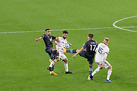 ST PAUL, MN - SEPTEMBER 27: Robin Lod #17 of Minnesota United FC and Kyle Beckerman #5 of Real Salt Lake battle for the ball during a game between Real Salt Lake and Minnesota United FC at Allianz Field on September 27, 2020 in St Paul, Minnesota.