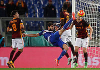 Calcio, Serie A: Roma vs Sampdoria. Roma, stadio Olimpico, 7 febbraio 2016.<br /> Sampdoria's Andrea Ranocchia, second from left, kicks the ball during the Italian Serie A football match between Roma and Sampdoria at Rome's Olympic stadium, 7 January 2016.<br /> UPDATE IMAGES PRESS/Riccardo De Luca