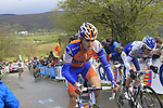 The peloton including Paul Martens (GER) Rabobank climbs the Cote de la Redoute during the 98th edition of Liege-Bastogne-Liege, running 257.5km from Liege to Ans, Belgium. 22nd April 2012.  <br /> (Photo by Eoin Clarke/NEWSFILE).