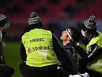 1st January 2021; Ashton Gate Stadium, Bristol, England; Premiership Rugby Union, Bristol Bears versus Newcastle Falcons; Marco Fuser of Newcastle Falcons receives treatment for an injury