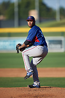 AZL Rangers starting pitcher Jesus Rodolfo Garcia (31) during an Arizona League game against the AZL Athletics Gold on July 15, 2019 at Hohokam Stadium in Mesa, Arizona. The AZL Athletics Gold defeated the AZL Rangers 9-8 in 11 innings. (Zachary Lucy/Four Seam Images)