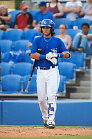 Dunedin Blue Jays designated hitter Bo Bichette (10) walks to the plate in the bottom of the fourth inning during a game against the Bradenton Marauders on July 17, 2017 at Florida Auto Exchange Stadium in Dunedin, Florida.  Bradenton defeated Dunedin 7-5.  (Mike Janes/Four Seam Images)