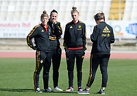 20180307 - LARNACA , CYPRUS :  Belgian Laura Deloose , Laura De Neve , Yana Daniels and Diede Lemey (r) pictured before a women's soccer game between  South Africa and the Belgian Red Flames  , on Wednesday 7 March 2018 at the GSZ Stadium in Larnaca , Cyprus . This is the final game in a decision for 5th or 6th place for Belgium during the Cyprus Womens Cup , a prestigious women soccer tournament as a preparation on the World Cup 2019 qualification duels. PHOTO SPORTPIX.BE | DAVID CATRY