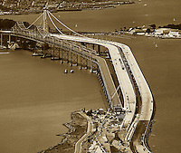 aerial photograph demoliton and construction eastern span San Francisco Oakland Bay Bridge