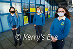 Mercy Mounthawk Leaving Cert students back at school on Monday.<br /> Front right: Kate Waldron. Back l to r: Emma McCarthy and Isabelle Curran