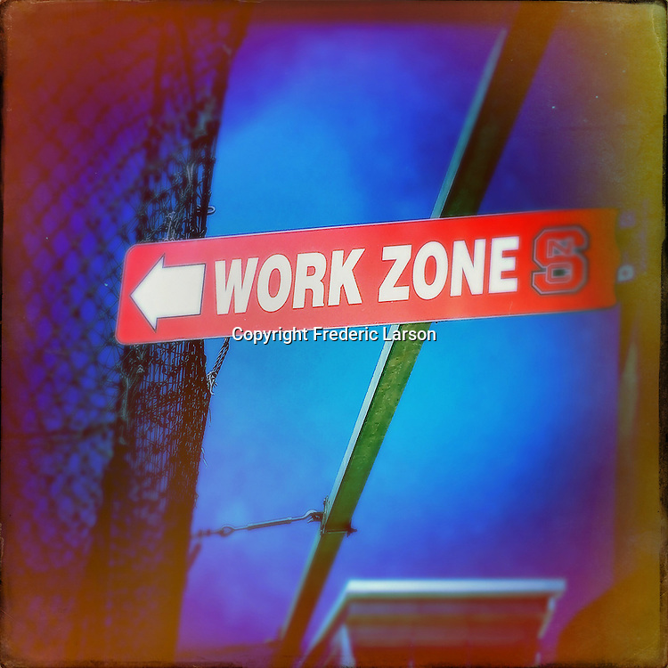 """The batting cage area at North Carolina State in called the """"Work Zone."""""""