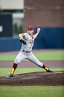 Central Michigan Chippewas pitcher Braxton Markle (1) delivers a pitch to the plate against the Michigan Wolverines on May 9, 2017 at Ray Fisher Stadium in Ann Arbor, Michigan. Michigan defeated Central Michigan 4-2. (Andrew Woolley/Four Seam Images)