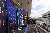 Colton Herta, Harding Steinbrenner Racing Honda, Josef Newgarden, Team Penske Chevrolet, Ryan Hunter-Reay, Andretti Autosport Honda celebrate on the podium