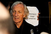 """""""Protect Free Speech"""". John Pilger, Journalist and documentary maker.<br /> <br /> For more pictures on this event click here: <a href=""""http://bit.ly/QuwW0G""""> http://bit.ly/QuwW0G</a>"""