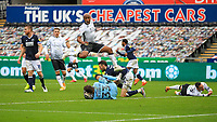 3rd October 2020; Liberty Stadium, Swansea, Glamorgan, Wales; English Football League Championship, Swansea City versus Millwall; Bartosz Bialkowski of Millwall gathers the ball ahead of Andre Ayew of Swansea City