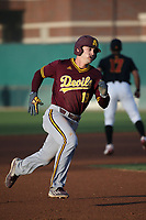 Jackson Willeford (19) of the Arizona Sun Devils runs the bases during a game against the Southern California Trojans at Dedeaux Field on March 24, 2017 in Los Angeles, California. Southern California defeated Arizona State, 5-4. (Larry Goren/Four Seam Images)