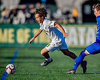 26 October 2019: University of Vermont Catamount Forward JoJo Moulton-Condiotti, a Freshman from Brooklyn, NY, in second half action against the University of Massachusetts Lowell River Hawks at Virtue Field in Burlington, Vermont. The Catamounts rallied to defeat the River Hawks 2-1, propelling the Cats to the America East Division 1 conference playoffs. Mandatory Credit: Ed Wolfstein Photo *** RAW (NEF) Image File Available ***