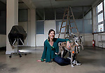 No Repro Fee..Irish designer to shine at worlds largest jewellery trade show..Geraldine Murphy, of Saba Jewellery in Dublin, pictured in her studio with her dog Toni as she prepares for the Inhorgenta Jewellery Trade Show in Munich, Germany.  She is one of a  group of ten Irish jewellery designers selected by the Crafts Council of Ireland to exhibit at the show, which will attract 80.000 buyers from all over the world, from February 10th to 13th..Pic: Robbie Reynolds/CPR.