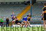 Johnny Buckley Dr Crokes claims the loose ball ahead of Teddy Doyle  Templenoe during the SFC quarter final in Fitzgerald Stadium on Sunday