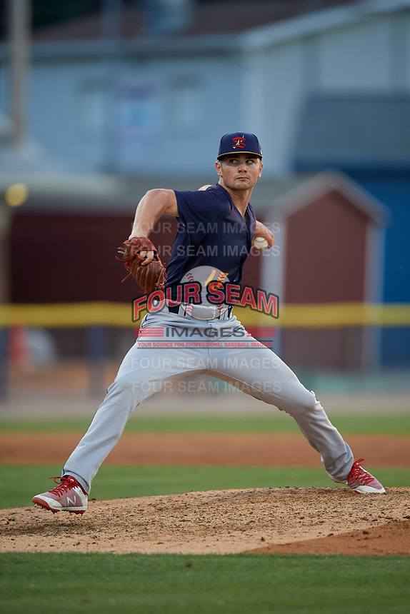 State College Spikes pitcher Jacob Schlesener (15) during a NY-Penn League game against the Batavia Muckdogs on July 3, 2019 at Dwyer Stadium in Batavia, New York.  State College defeated Batavia 6-4.  (Mike Janes/Four Seam Images)