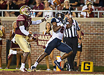 Samford wide receiver Kelvin McKnight gets under a pass against Florida State during an NCAA college football game in Tallahassee, Fla.,Saturday, Sept. 8, 2018.  Florida State defeated Samford 36 to 26.