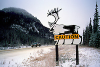 Alaska Highway, Northern Rockies, BC, British Columbia, Canada - Warning Caution Road Sign for Caribou Animal Crossing, Winter