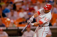 3 September 2005: Bobby Abreu, outfielder with the Philadelphia Phillies, at bat during a game against the Washington Nationals. The Nationals defeated the Phillies 5-4 at RFK Stadium in Washington, DC. <br />