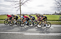 the lead group in the race finale with a kid trying to keep up in the background<br /> <br /> 83rd Gent-Wevelgem - in Flanders Fields (ME - 1.UWT)<br /> 1 day race from Ieper to Wevelgem (BEL): 254km<br /> <br /> ©kramon