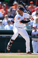 Baltimore Orioles outfielder Nick Markakis (21) during a spring training game against the Boston Red Sox on March 8, 2014 at Ed Smith Stadium in Sarasota, Florida.  Baltimore defeated Boston 7-3.  (Mike Janes/Four Seam Images)