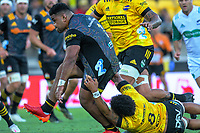 Hurricanes captain Ardie Savea tries to stop Samisoni Taukei'aho during the Super Rugby Aotearoa match between the Hurricanes and Chiefs at Sky Stadium in Wellington, New Zealand on Saturday, 20 March 2020. Photo: Dave Lintott / lintottphoto.co.nz