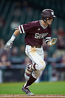 Jake Mangum (15) of the Mississippi State Bulldogs hustles down the first base line against the Louisiana Ragin' Cajuns in game three of the 2018 Shriners Hospitals for Children College Classic at Minute Maid Park on March 2, 2018 in Houston, Texas.  The Bulldogs defeated the Ragin' Cajuns 3-1.   (Brian Westerholt/Four Seam Images)