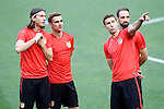 Atletico de Madrid's Filipe Luis, Antoine Griezmann, Gabi Fernandez and Juanfran Torres during Champions League 2015/2016 training session. May 27,2016. (ALTERPHOTOS/Acero)