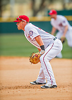 13 March 2016: Washington Nationals first baseman Tyler Moore stands ready during a pre-season Spring Training game against the St. Louis Cardinals at Space Coast Stadium in Viera, Florida. The teams played to a 4-4 draw in Grapefruit League play. Mandatory Credit: Ed Wolfstein Photo *** RAW (NEF) Image File Available ***