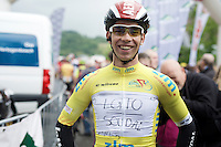 race leader Sean De Bie (BEL/Lotto-Soudal) proudly showing of his 'personalised' (by teammate Marcel Sieberg) leaders jersey at the start of the stage (due to problems with the race organisers' press-machine)<br /> #FightForStig<br /> <br /> stage 4: Hotel Verviers - La Gileppe (Jalhay/BEL) 186km <br /> 30th Ster ZLM Toer 2016