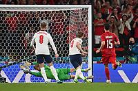 7th July 2021, Wembley Stadium, London, England; 2020 European Football Championships (delayed) semi-final, England versus Denmark; Harry Kane follows up his penlaty saved to score for 2-1 against goalkeeper Kasper SCHMEICHEL DEN