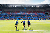 LYON, FRANCE - JULY 07: Referees during a game between Netherlands and USWNT at Stade de Lyon on July 07, 2019 in Lyon, France.
