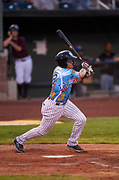 Idaho Falls Chukars Hector Pineda (3) at bat during a Pioneer League game against the Missoula Osprey at Melaleuca Field on August 20, 2019 in Idaho Falls, Idaho. Idaho Falls defeated Missoula 6-3. (Zachary Lucy/Four Seam Images)