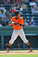 Center fielder Johneshwy Fargas (10) of the Augusta GreenJackets bats in a game against the Greenville Drive on Sunday, June 12, 2016, at Fluor Field at the West End in Greenville, South Carolina. Greenville won, 11-8. (Tom Priddy/Four Seam Images)