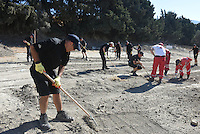 "Pictured: Special forensics police officers search a field in Kos, Greece. Thursday 29 September 2016<br /> Re: Police teams searching for missing toddler Ben Needham on the Greek island of Kos have said they are ""optimistic"" about new excavation work.<br /> Ben, from Sheffield, was 21 months old when he disappeared on 24 July 1991 during a family holiday.<br /> Digging has begun at a new site after a fresh line of inquiry suggested he could have been crushed by a digger.<br /> South Yorkshire Police (SYP) said it continued to keep an ""open mind"" about what happened to Ben."