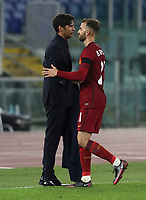 Football Soccer: UEFA Europa League UEFA Europa League Group A  AS Roma vs FCR Cluj, Olympic stadium, Rome, 5 November, 2020.<br /> Roma's coach Paulo Fonseca (l) celebrates with Borja Mayoral (r) after winning 5-0 the Europa League football match between Roma and Cluj at the Olympic stadium in Rome on  5 November, 2020.<br /> UPDATE IMAGES PRESS/Isabella Bonotto