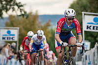 Anthony Turgis (FRA/Total - Direct Energie) up the Oude Kwaremont<br /> <br /> 104th Ronde van Vlaanderen 2020 (1.UWT)<br /> 1 day race from Antwerpen to Oudenaarde (BEL/243km) <br /> <br /> ©kramon