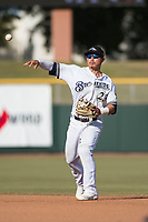 Peoria Javelinas second baseman Keston Hiura (23), of the Milwaukee Brewers organization, throws to first base during the Arizona Fall League Championship Game against the Salt River Rafters at Scottsdale Stadium on November 17, 2018 in Scottsdale, Arizona. Peoria defeated Salt River 3-2 in 10 innings. (Zachary Lucy/Four Seam Images)